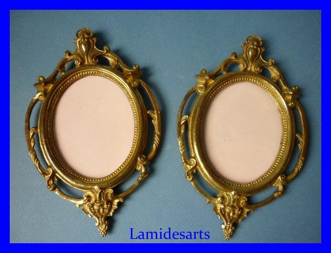paire 2 porte photo cadre pour miniature bronze dore napoleon iii 1850. Black Bedroom Furniture Sets. Home Design Ideas