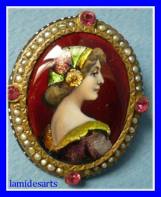 Antique limoges enamel brooch signed camille faure for Garage faurie limoges
