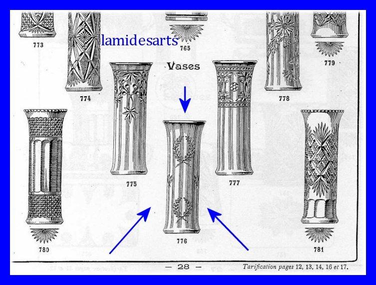 Vase en cristal de baccarat couronne de lauriers catalogue 1916 - Cristal de baccarat ancien ...