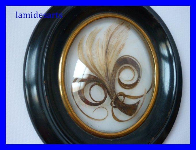 cadre bois noirci verre bomb miniature reliquaire m che de cheveux napoleon iii 1860 1870. Black Bedroom Furniture Sets. Home Design Ideas