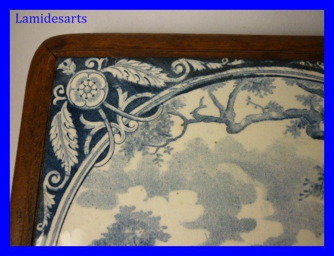 Dessous De Plat Faience 2 Moutons Bleus 1900