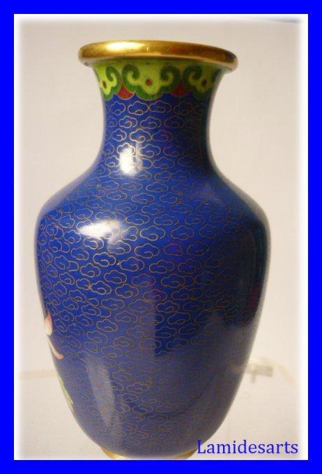 Vase Chine Emaux Cloisonnes Fond Bleu