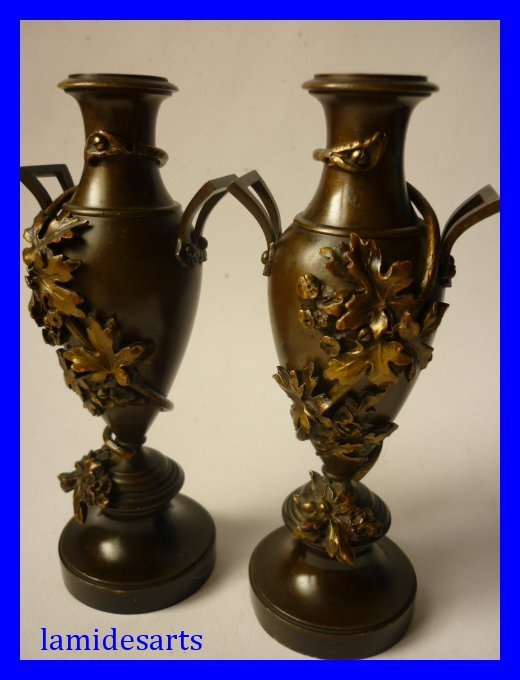 Pair Of Antique French Bronze Vases 1880