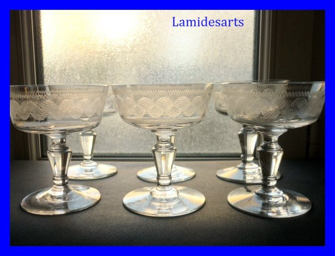 6 verres coupes a vin de champagne cristal grave baccarat 1900. Black Bedroom Furniture Sets. Home Design Ideas