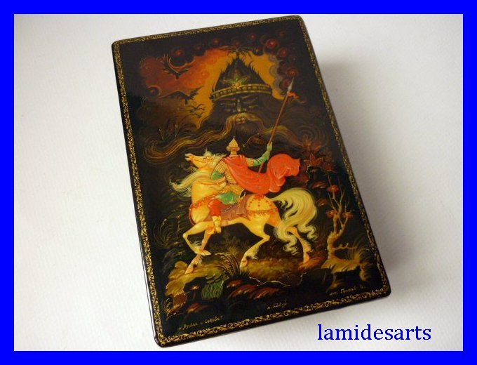 Hand Painted Kholui Russian Lacquer Box Ruslan And Head 1980