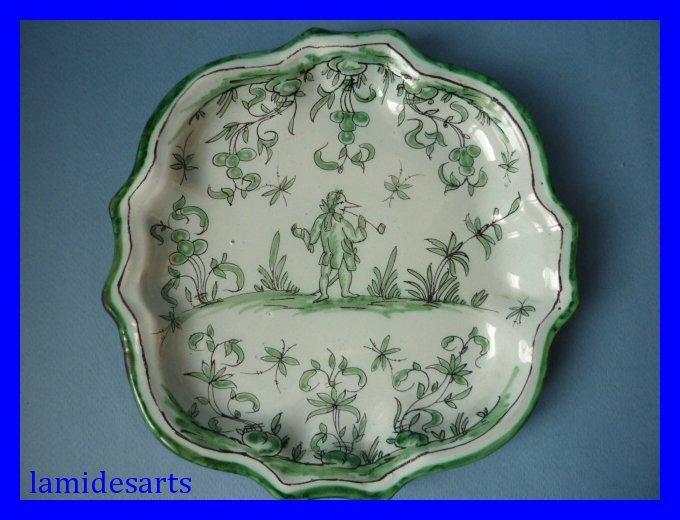 assiette faience nevers antoine montagnon camaieu vert 1880. Black Bedroom Furniture Sets. Home Design Ideas