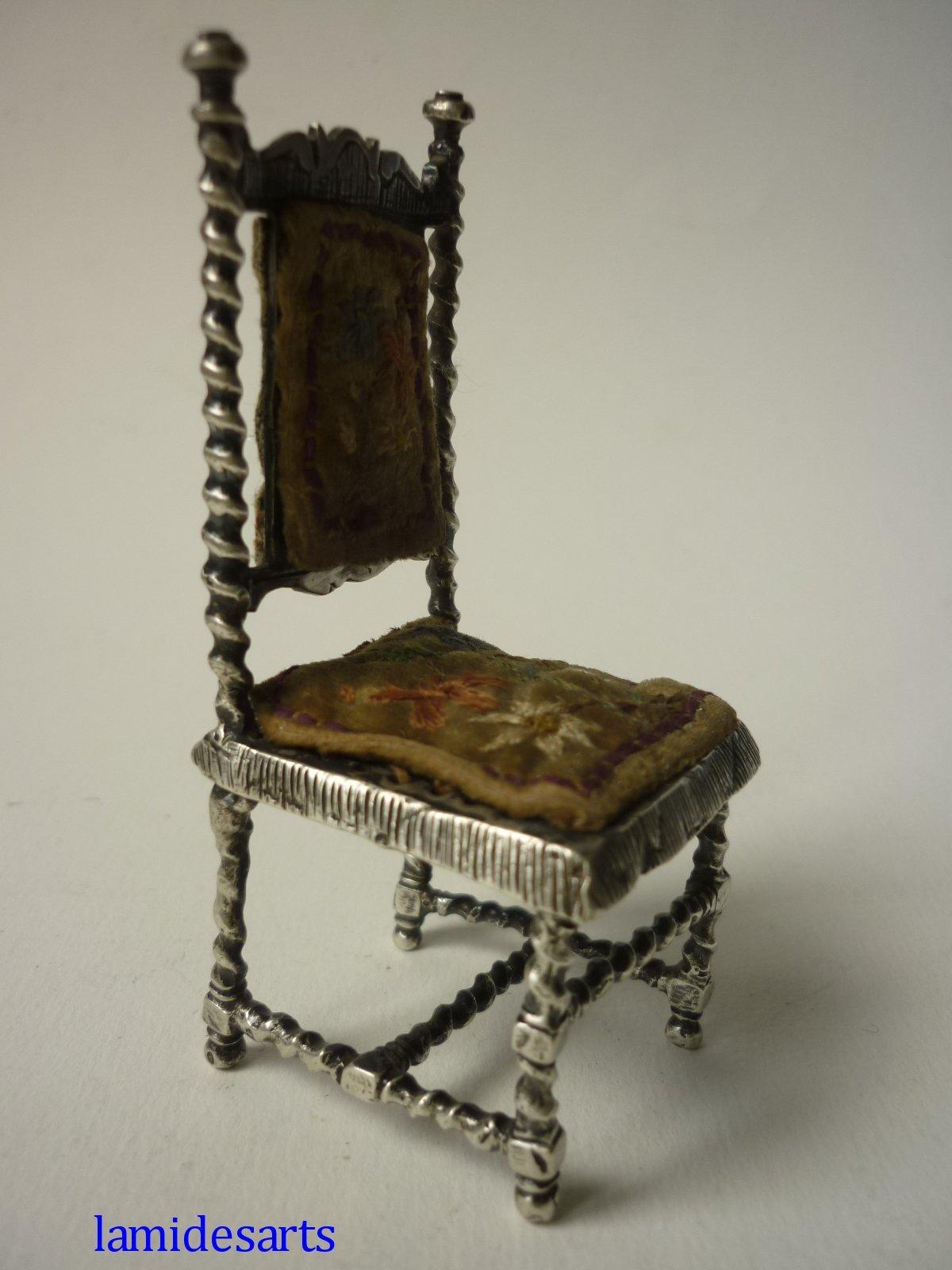 Chaise Meuble Miniature En Argent Massif Hanau 1880 1900