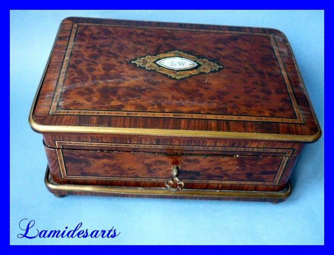 coffret a bijoux napoleon iii marqueterie sormani paris 1870. Black Bedroom Furniture Sets. Home Design Ideas