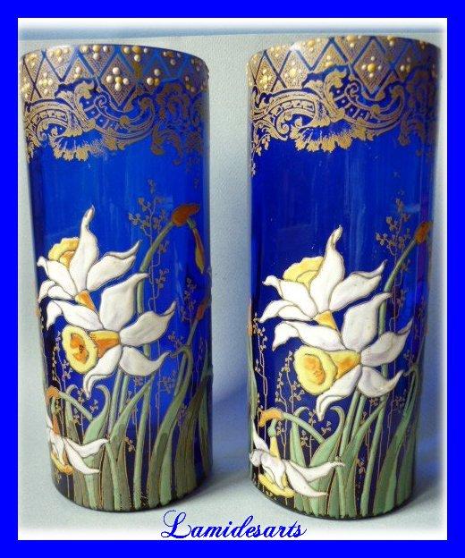 montjoye legras paire 2 vases verre bleu emaille 1900. Black Bedroom Furniture Sets. Home Design Ideas