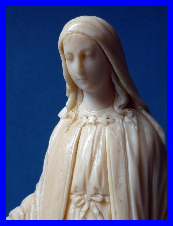 French Dieppe Ivory Sculpture Virgin Mary Signed Georges