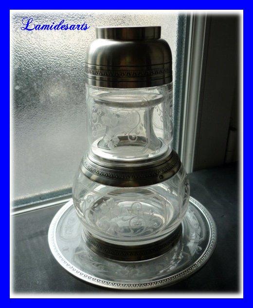 service de nuit verre d 39 eau cristal de baccarat grave monture argent massif jules marie 1889 1912. Black Bedroom Furniture Sets. Home Design Ideas