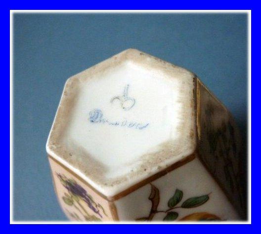 Vase Couvert Porcelaine Dresde 1900 Oiseaux Et Fleurs