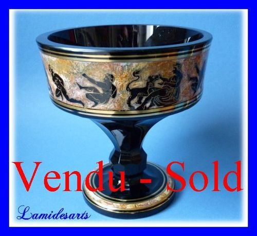 HAIDA MOSER Theodor Bienert Bohemian glass VASE BOWL ART DECO etched, enameled and gilt