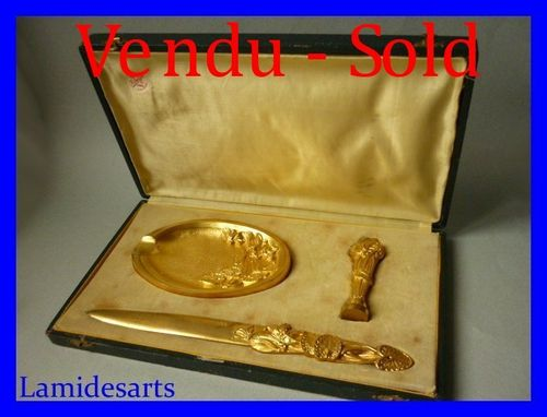 1900's GILT BRONZE BOWL + SEAL & LETTER OPENER signed FRECOURT