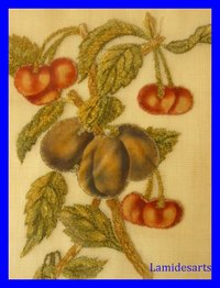 Nice PICTURE Embroidery Fruits Plums and Cherries 1850