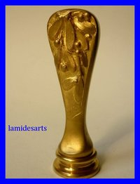 ART NOUVEAU GILT BRONZE SEAL signed A. VILLAIN
