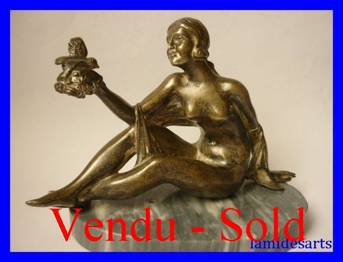 ART DECO BRONZE lady with bird