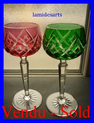 2 COLOURED BOHEMIAN CRYSTAL GLASSES ROEMER