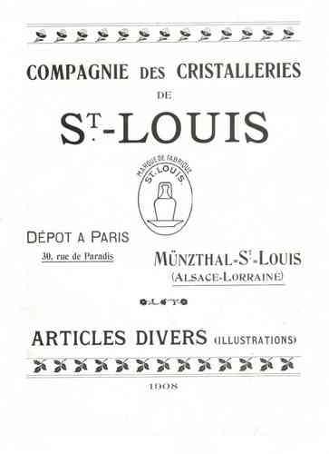 CRISTAL DE SAINT LOUIS CATALOGUE 1908    A TELECHARGER