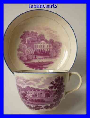 STAFFORDSHIRE porcelain cup and saucer 1820 - 1840