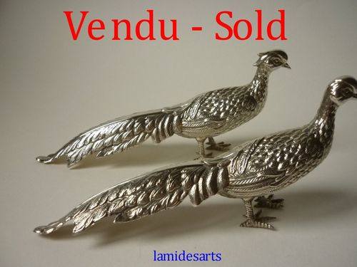 PAIR OF STERLING SILVER FIGURINES COUPLE OF PHEASANTS