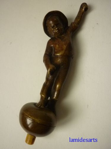 Peter Tereszczuk bronze push bell call ringer young boy