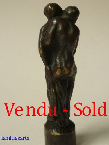 EROTIC BRONZE FIGURINE Woman and Satyr