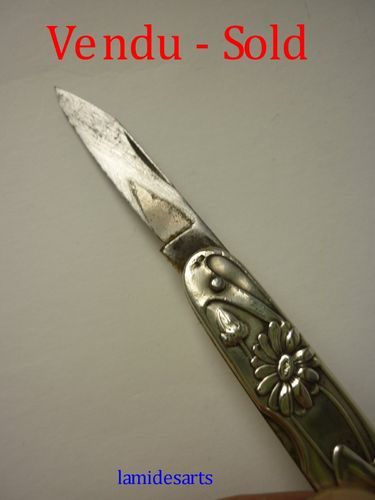 ART NOUVEAU SILVER POCKET KNIFE 1900