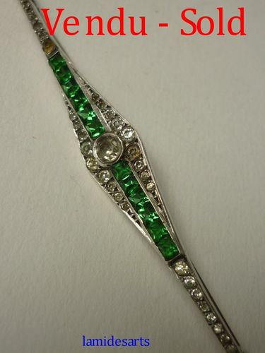 ART DECO SILVER BROOCH WITH RHINESTONES 1930 - 1950