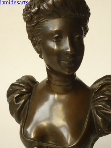 A. LENORMAND BRONZE BUST OF A YOUNG LADY  1900 - 1920