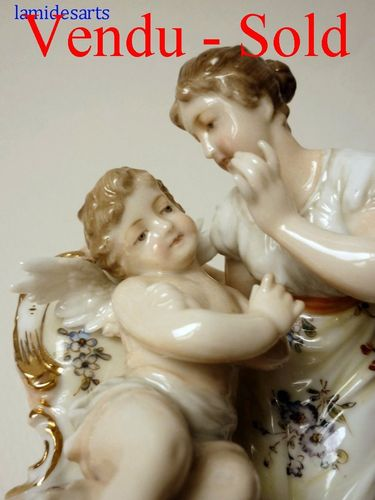 Volkstedt Rudolstadt German porcelain figurine with angel 1890 - 1920