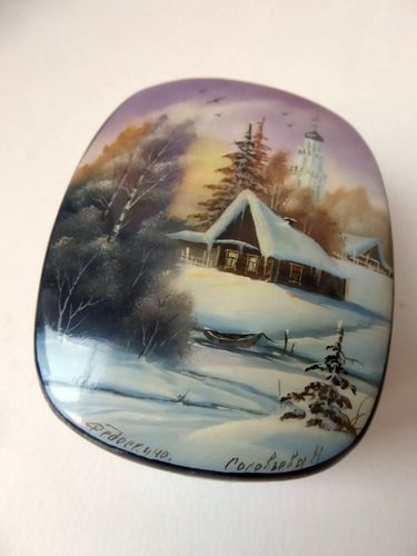 FEDOSKINO RUSSIAN LACQUER BOX HAND PAINTED SIGNED SNOW LANDSCAPE 1990