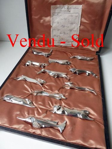 GALLIA CHRISTOFLE SILVER PLATED SET 12 KNIFE RESTS ANIMALS BOXED
