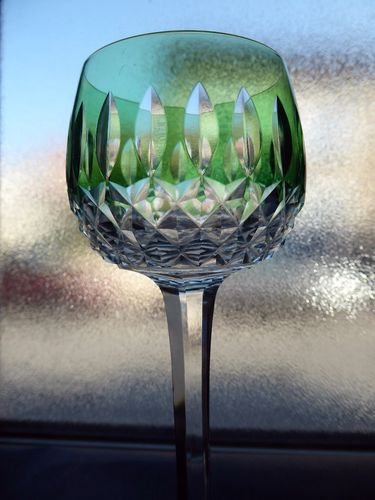 SAINT LOUIS SYLVANER CRYSTAL COLOURED RHINE WINE GLASS ROEMER GREEN stock: 1