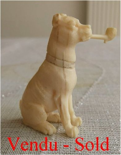 1880's Ivory sculpture figurine a dog smoking a pipe