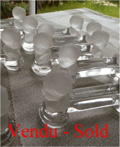 BACCARAT CRYSTAL set of 11 knife rest Child Bust   catalog 1903