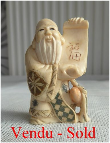 ANTIQUE JAPANESE IVORY NETSUKE MAN  Meiji period  Signed 1900 - 1910