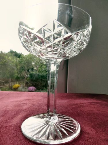 BACCARAT JUIGNE CRYSTAL CHAMPAGNE GLASS   signed  stock: 6