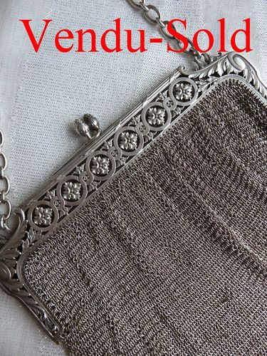 SUPERB BIG STERLING SILVER MESH EVENING BAG 1900 - 1920  342 grams