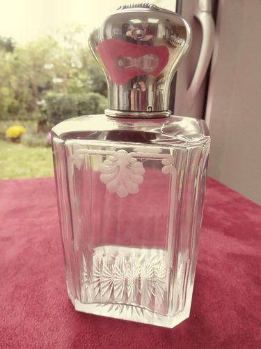 CRYSTAL AND STERLING SILVER PERFUME BOTTLE GRAVOIN 1902
