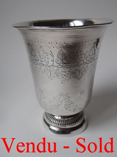 Antique French Sterling Silver Tumbler 1819    82 grams