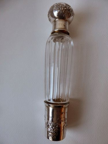 ANTIQUE CRYSTAL AND STERLING SILVER FLASK BOTTLE POT ERNEST PARIS 1904